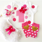Customized 1st Birthday Outfit For Baby Girls Made to Order Hot Pink Confetti