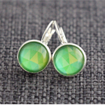 Green Hued Geo ~ Lever Back Earrings