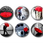 Fridge magnets -  Red Umbrella 1 -set of 6