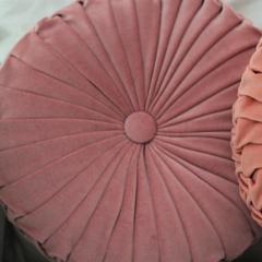 Dusty Pink Velvet Vintage Style round cushion-FREE POST