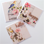 SET OF 3 blank vintage bird floral laser cut wooden happy hello her friend card
