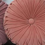 Peach Pink Velvet Vintage Style round cushion