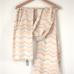 Grey / Peach Chevron Print Scarf