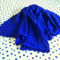Royal Blue Crochet Blanket Throw Blanket
