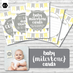 Baby Milestone Cards - Yellow & Grey Bunting