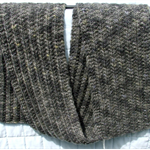 Unisex Scarf, Merino Wool, Hand Dyed, Spun & Knitted Long Olive Grey
