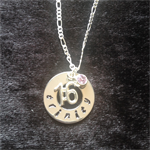 Hand Stamped Personalised 16th 18th 21st 30th 40th 50th Birthday Necklace.