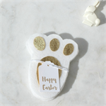 Easter Bunny Paws - Easter Treasure Hunt  - Set of 5 - White and Metallic Gold