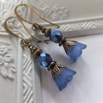 Royal Blue Bell Flower Lucite Earrings