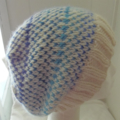 Hand-Knit, Large, Wool Adult/Teen Slouchie Beanie Hat, Cream / Blue
