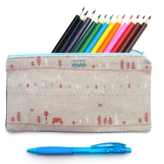 Bus Stop zip PENCIL CASE zippered pouch . Handmade . Adult, Teen Teachers Gift