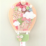 Hot air balloon hair clips holder, felt, pastel peach, flowers