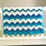 Crochet blanket, acrylic, ocean, blue, mint green, white, bedding, cot, zigzag