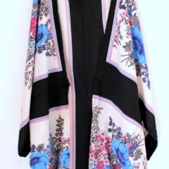 KIMONO SHRUG, oriental flowers blue
