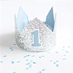 Glitter Crown  - Silver & Blue - First Birthday - Second Birthday - Photo Prop