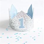 Glitter Crown  - Silver & Blue - First Birthday - Second Birthday - Photo Prop