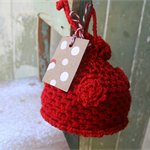 Red Drawstring Bag ~ Red Crochet Bag ~ Christmas Present ~ Handmade Red Bag