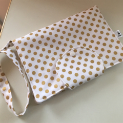 White with Gold Dots Nappy Wallet