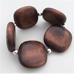 Square dark wood bead and silver bead stretch bracelet