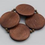 Bold round dark wood bead and brass bead stretch bracelet