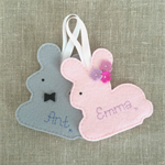 Personalised rabbit decoration, bunny ornament, gift tag