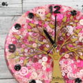 Tick Tock - Natural Tree of Life PINK Buttons Resin clock - silent motion