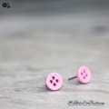 Tiny 4 hole button - PALE PINK - cute - Button - Stud Earrings