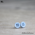 Tiny 4 hole button - Light BLUE - cute - Button - Stud Earrings