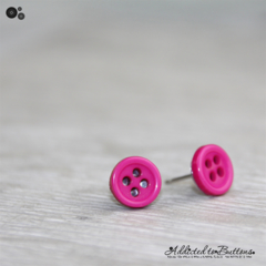 Tiny 4 hole button - HOT PINK - cute - Button - Stud Earrings