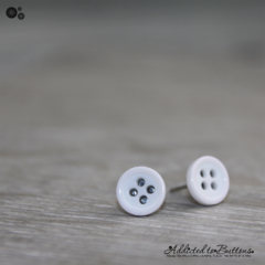 Tiny 4 hole button - WHITE - cute - Button - Stud Earrings