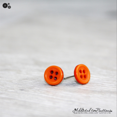 Tiny 4 hole button - ORANGE - cute - Button - Stud Earrings