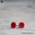 Tiny 4 hole button - RED - cute - Button - Stud Earrings