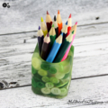 Button Pot - Resin & Buttons - Green Pencil, paperclip, toothpick holder, vase