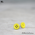 Tiny 4 hole button - YELLOW - cute - Button - Stud Earrings