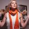 Scarf handmade woollen women's winter wool orange dark teal autumn