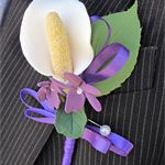 Calla Lily/Violet Boutonnieres for Groom/Groomsmen