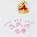 Easter Bunny Paws  - Set of 5 - Easter Treasure Hunt - White and Pink