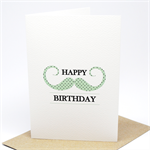 Birthday Card Male - Moustache Mint with Black Polkadots - HBM059