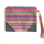 'Bright Striped Print' Clutch Purse with Leather Corners