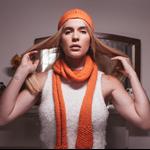 Scarf beanie sets handmade woollen beanies women's winter wool orange pink