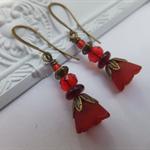 Cranberry Bell Flower Lucite Earrings