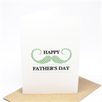 Father's Day Card - Moustache Mint with Black Polkadots - HFD020