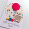 Balloons laser cut wooden owl happy birthday her  daughter custom card