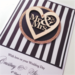 XLARGE CUSTOM Wedding Day monochrome lasercut wooden heart Mr & Mrs  card