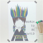 "Born To Be Wild Colour A4/8x10"" Illustration Print."