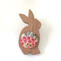 Kimono Easter Bunny Brooch - Pink and Green Floral