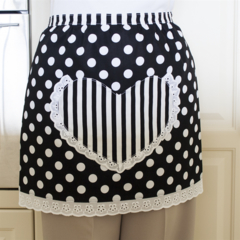 Half Apron Spots & Stripes black & white - womens lined apron with heart pocket