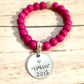 Personalised Pink Howlite Bead Bracelet with Hand Stamped Family Tree Names
