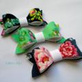 Felt bow trio - Blue/Green mini bow clips