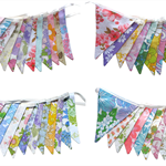 Vintage Bunting - Retro Spring 'Colours of the Rainbow' Multi Floral Flags